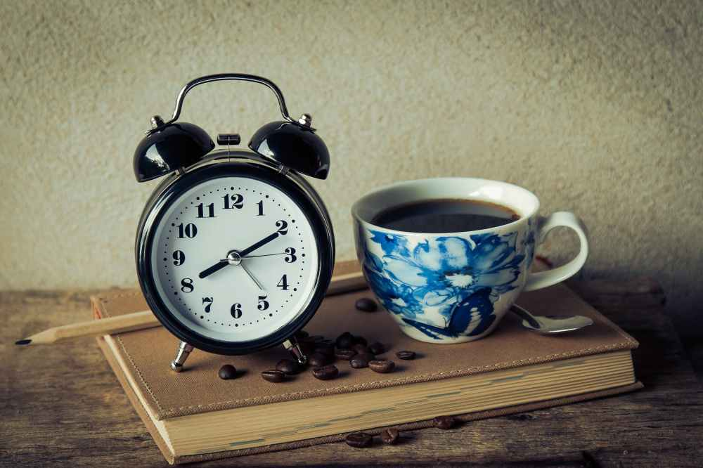 alarm clock black coffee book caffeine