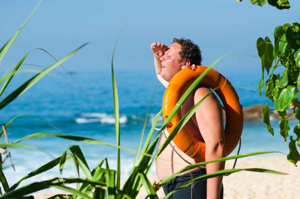 adult beach enjoyment fat